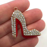 Clear Crystal Enamel Clear Crystals Gold Plated Setting Metal Charm - Heel