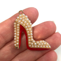Pearl Enamel Clear Crystals Gold Plated Setting Metal Charm - Heel