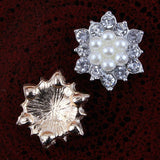 17mm Pearl & Rhinestone Silver Flatback Buttons (NO SHANK) Embellishments Wedding Bridal Hair Accessory Flower Centers