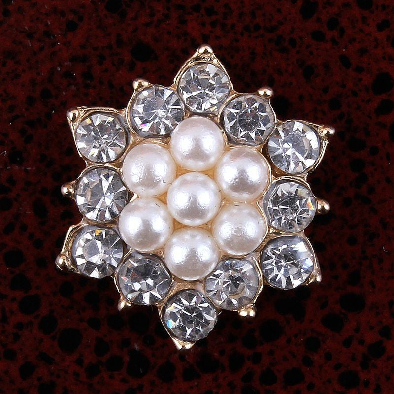17mm Pearl & Rhinestone Gold Flatback Buttons (NO SHANK) Embellishments Wedding Bridal Hair Accessory Flower Centers