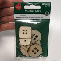 Wood Basic Buttons (10 Pack) Assorted Wood Shapes by Lara's Crafts