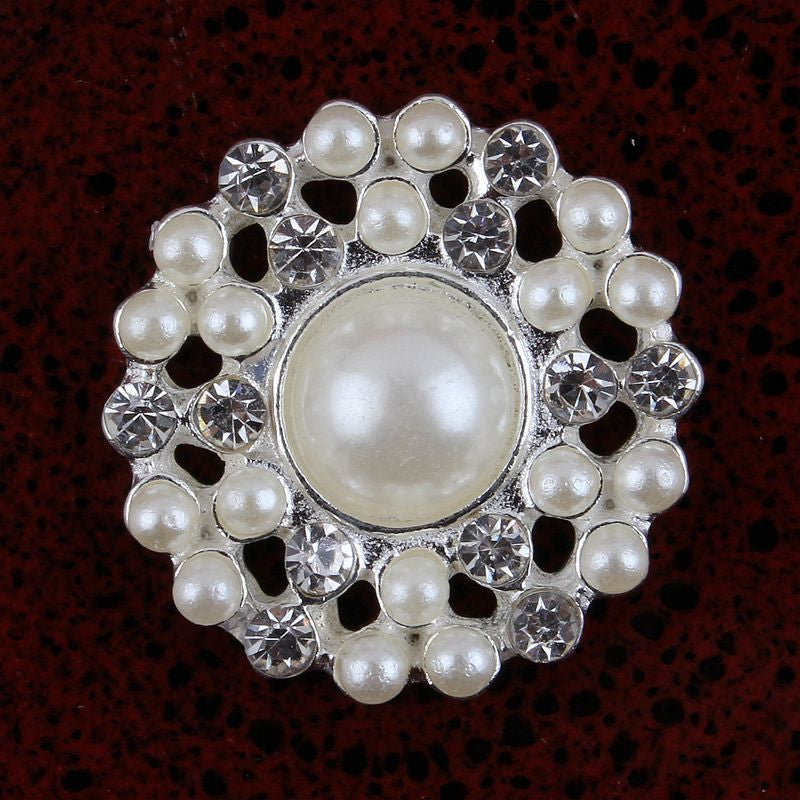 22mm Pearl & Rhinestone Silver  Flatback Buttons (NO SHANK) Embellishments Wedding Bridal Hair Accessory Flower Centers (TDK-B1258)