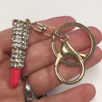 Coral Enamel Clear Rhinestone Gold Plated Setting Metal Charm and Keychain - Lipstick
