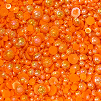 2-10mm Orange AB Resin Round Flat Back Loose Pearls - 1000pcs