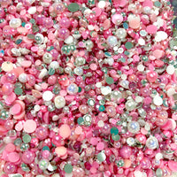 2-10mm Mixed Pearls and Rhinestones Resin Round Flat Back Loose Pearls #1 - 2000pcs