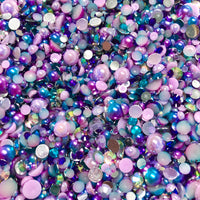 2-10mm Mixed Pearls and Rhinestones Resin Round Flat Back Loose Pearls #3 - 2000pcs