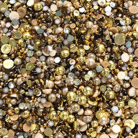 2-10mm Mixed Pearls and Rhinestones Resin Round Flat Back Loose Pearls #9 - 2000pcs