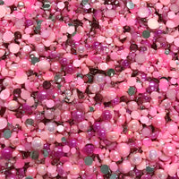 2-10mm Mixed Pearls and Rhinestones Resin Round Flat Back Loose Pearls #8 - 2000pcs