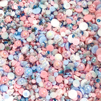 2-10mm Mixed Pearls and Rhinestones Resin Round Flat Back Loose Pearls #4 - 2000pcs
