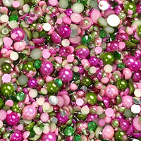 2-10mm Mixed Pearls and Rhinestones Resin Round Flat Back Loose Pearls #11 - 2000pcs