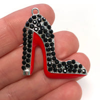 Black Enamel Clear Crystals Silver Plated Setting Metal Charm - Heel