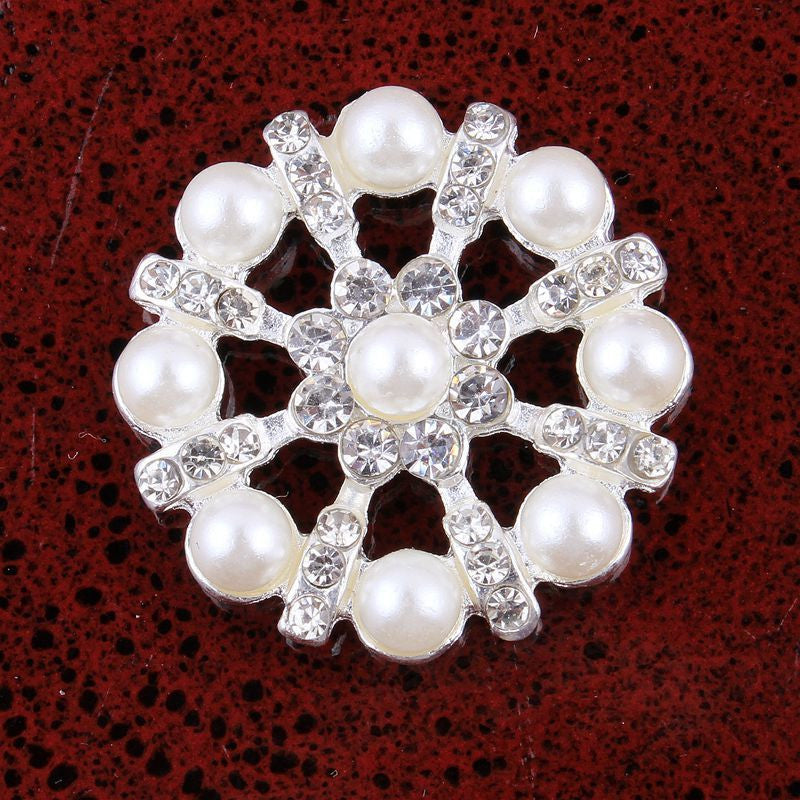 27mm Pearl & Rhinestone Silver Flatback Buttons (NO SHANK) Embellishments Wedding Bridal Hair Accessory Flower Centers (TDK-B1244)