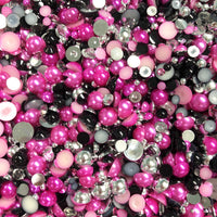 2-10mm Mixed Pearls and Rhinestones Resin Round Flat Back Loose Pearls #13 - 2000pcs