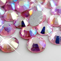 SS12/3mm Rose AB Glass Round Flat Back Loose Rhinestones - 1440pcs