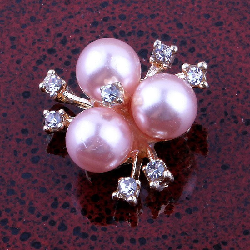 20mm Pink Pearl & Crystal Rhinestone GoldFlatback Buttons (NO SHANK) Embellishments Wedding Bridal Hair Accessory Flower Centers (TDK-B1225)