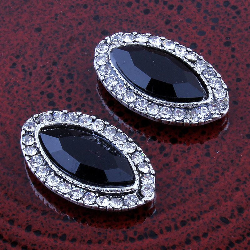14x22mm Vintage Style Black Marquis & Rhinestone Silver Flatback Buttons (NO SHANK) Embellishments Wedding Bridal Hair Accessory Flower Centers (TDK-B1221)