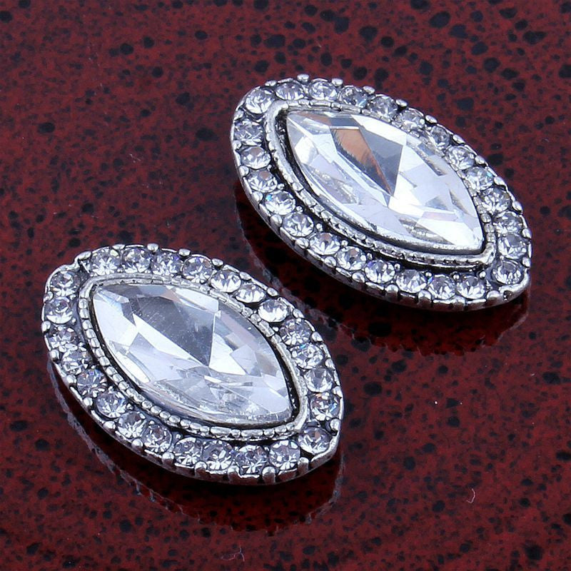 14x22mm Vintage Style Crystal Clear Marquis & Rhinestone Silver Flatback Buttons (NO SHANK) Embellishments Wedding Bridal Hair Accessory Flower Centers (TDK-B1220)