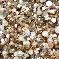2-10mm Mixed Pearls and Rhinestones Resin Round Flat Back Loose Pearls #17 - 1000pcs