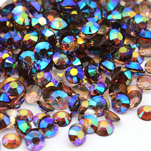 5mm Dark Coffee AB Transparent Jelly Resin Round Flat Back Loose Rhinestones