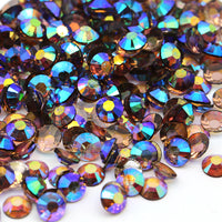 2mm Dark Coffee AB Transparent Jelly Round Flat Back Loose Rhinestones
