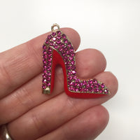 Fuchsia Pink Enamel Clear Crystals Gold Plated Setting Metal Charm - Heel