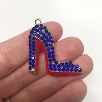 Royal Blue Enamel Clear Crystals Gold Plated Setting Metal Charm - Heel