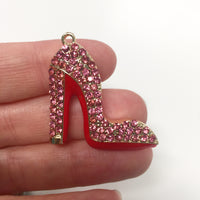Pink Enamel Clear Crystals Gold Plated Setting Metal Charm - Heel
