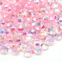 2mm Light Pink AB Transparent Jelly Round Flat Back Loose Rhinestones