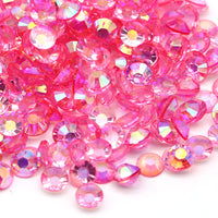 2mm Hot Pink AB Transparent Jelly Round Flat Back Loose Rhinestones