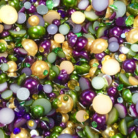 2-10mm Mixed Pearls and Rhinestones Resin Round Flat Back Loose Pearls #19 - 2000pcs