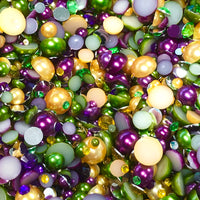 2-10mm Mixed Pearls and Rhinestones Resin Round Flat Back Loose Pearls #19 - 1000pcs