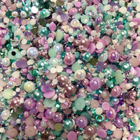 2-10mm Mixed Pearls and Rhinestones Resin Round Flat Back Loose Pearls #21 - 2000pcs