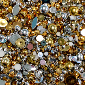 2-10mm Mixed Pearls and Rhinestones Resin Round Flat Back Loose Pearls #24 - 1,000pcs