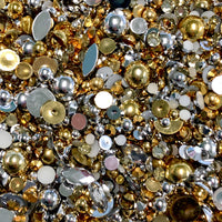 2-10mm Mixed Pearls and Rhinestones Resin Round Flat Back Loose Pearls #24 - 2000pcs