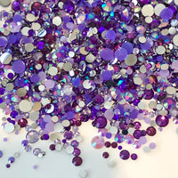 2-6mm Mixed Purple Resin Jelly Round Flat Back Loose Rhinestones