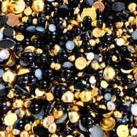 2-10mm Mixed Pearls and Rhinestones Resin Round Flat Back Loose Pearls #25 - 1000pcs