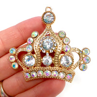 1 Piece Large Crown Flatback Rhinestone Gold Decoden Alloy Bling Cabochon DIY Phone Case Charm Accessories TDK-B1001
