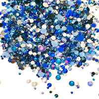 2-6mm Mixed Royal Blue, Navy, Light Sapphire Resin Jelly Round Flat Back Loose Rhinestones