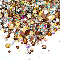 2-6mm Mixed Coffee, Crystal AB, Bronze, Champagne Resin Jelly Round Flat Back Loose Rhinestones
