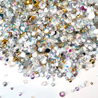 2-6mm Mixed White, Crystal AB, Gold Resin Jelly Round Flat Back Loose Rhinestones