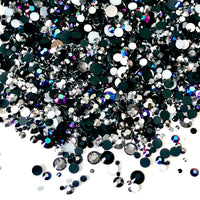 2-6mm Mixed Black, Hematite, Gray Resin Jelly Round Flat Back Loose Rhinestones