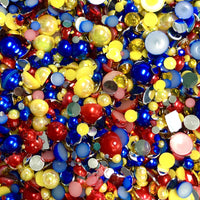 2-10mm Mixed Pearls and Rhinestones Resin Round Flat Back Loose Pearls #27 - 2000pcs