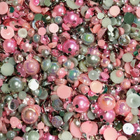 2-10mm Mixed Pearls and Rhinestones Resin Round Flat Back Loose Pearls #28 - 2000pcs