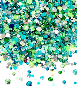 2-6mm Mixed Aqua, Green, AB Resin Jelly Round Flat Back Loose Rhinestones