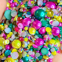 2-10mm Mixed Pearls and Rhinestones Resin Round Flat Back Loose Pearls #29 - 1000pcs