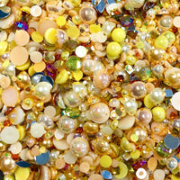 2-10mm Mixed Pearls and Rhinestones Resin Round Flat Back Loose Pearls #29 - 2000pcs
