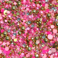 2-10mm Mixed Pearls and Rhinestones Resin Round Flat Back Loose Pearls #30 - 1000pcs