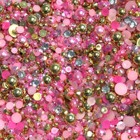 2-10mm Mixed Pearls and Rhinestones Resin Round Flat Back Loose Pearls #30 - 2000pcs