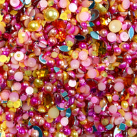 2-10mm Mixed Pearls and Rhinestones Resin Round Flat Back Loose Pearls #32 - 1000pcs