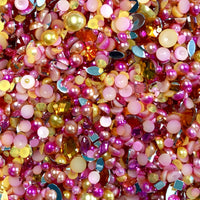 2-10mm Mixed Pearls and Rhinestones Resin Round Flat Back Loose Pearls #32 - 2000pcs